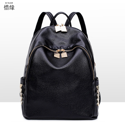 high quality PU Leather sacos Women Backpacks For Teenage Girls School Bags Black Summer Brand Vintage Backpack Mochilas Mujer 2016 fashion women waterproof pu leather rivet backpack women s backpacks for teenage girls ladies bags with zippers black bags