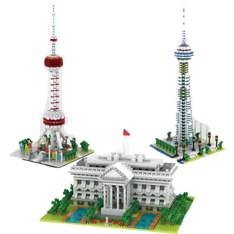 YZ Diamond Blocks World Famous Building White House Bricks CN Tower Auction Figure Juguetes Educational Toys Kids Gift YZ060 mr froger loz diamond block easter island world famous architecture diy plastic building bricks educational toys for children