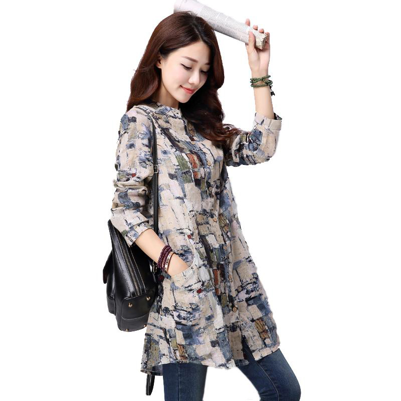 Women Tops 2016 New Autumn Casual Printed Cotton Linen Long Sleeve Women Blouses Blusas Vintage Shirt Long Tunic Tops for Women Рубашка