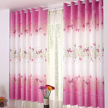 Nice Window Curtain Butterfly Pattern Calico Cloth Home Door Balcony Screen  Sheer(China)