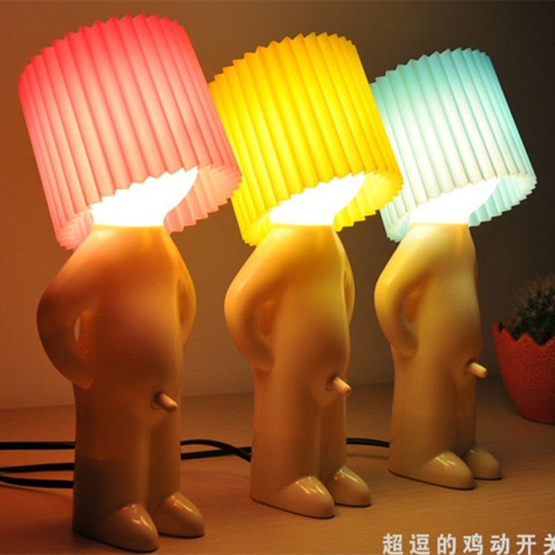 Creative 220 V Little Naughty Boy Table Lamp Button Switch Bedside Lamp For  Childrenu0027s Bedroom Novelty