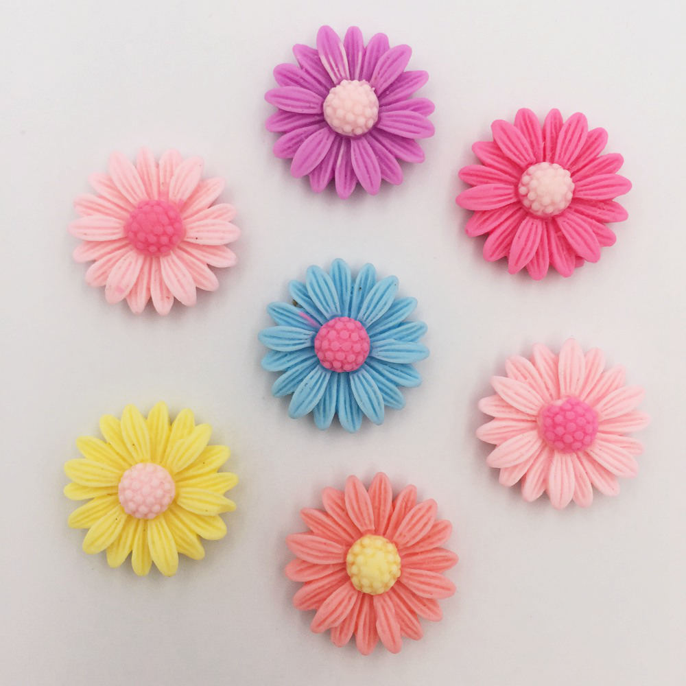DIY 50pcs 20mm Resin Hand Painting Daisy Flatback Stone/Children Scrapbook Crafts K85*5 ...