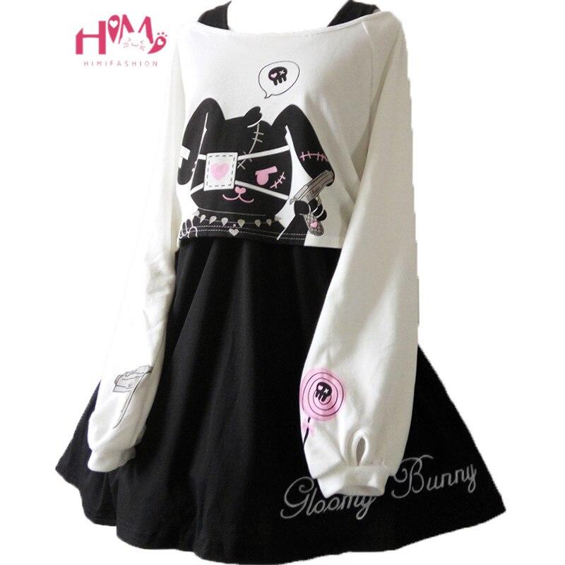 Japanese Kawaii Bunny Rabbit Lolita Dress Cute Comic Black Two Piece Set Vestidos Long Sleeve Casual Loose Girl Mini Dresses