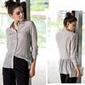 New Style Real Silk Top 100% Mulberry Silk Women Long-Sleeve Loose Blouse M L XL FREE SHIPPING