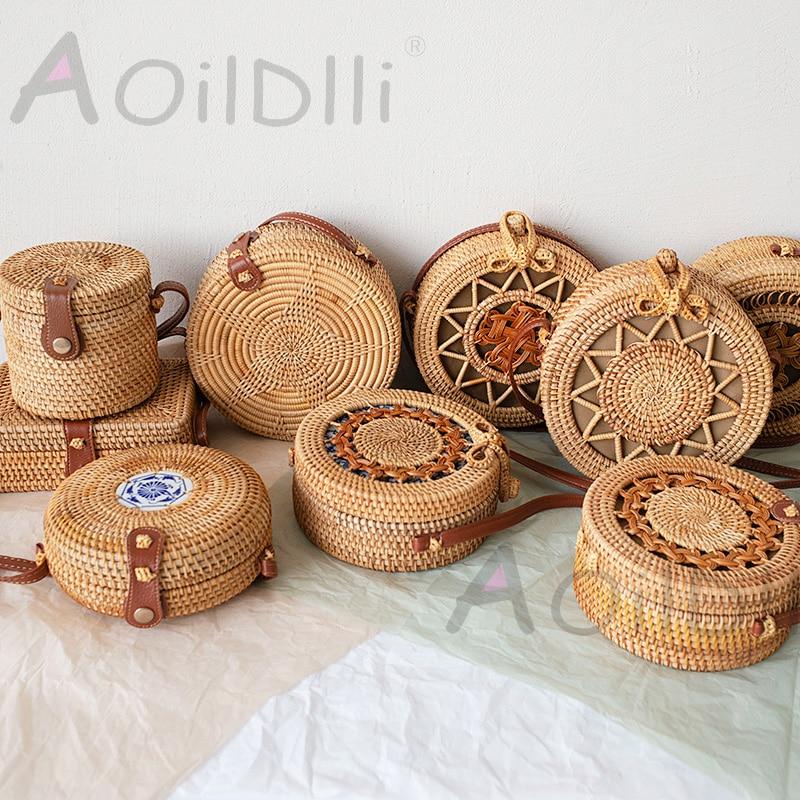 Handmade Round Woven Rattan Bag For Travel