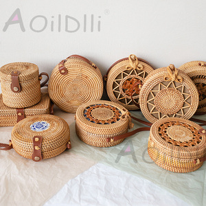 Woven Rattan Bag Round Straw Shoulder Ba