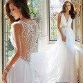 Sexy backless profundo escote en v vestido de novia de la princesa del grano del clavo pequeño trailing 2016 vestidos de talle alto
