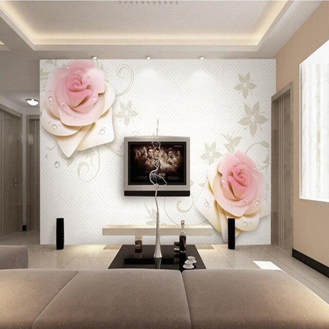 Customized Photo Wallpaper 3D Wall Murals Pink Rose TV Soft ...