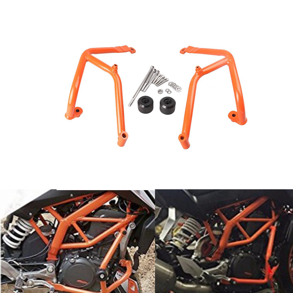 Motorcycle Crash Bar Frame Engine Protection Guard Bumper For KTM 390 Duke 2013 2014 2015 2016 Motorcycle Bumpers Black Orange for ktm 390 duke motorcycle leather pillon rear passenger seat orange color