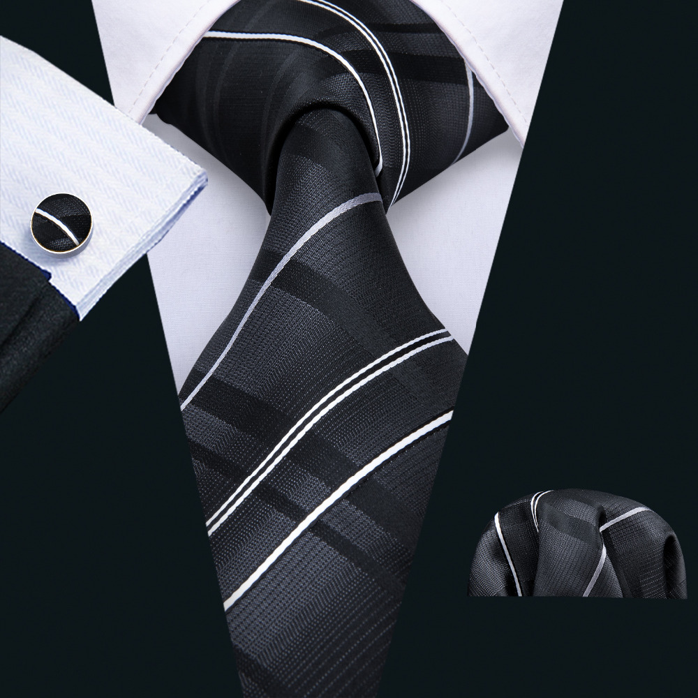 Novelty Striped Plaids Pattern Neck Ties For Men 8.5cm Black Tie 100% Silk Polyester Necktie For Wedding Men's Corbatas FA-5005