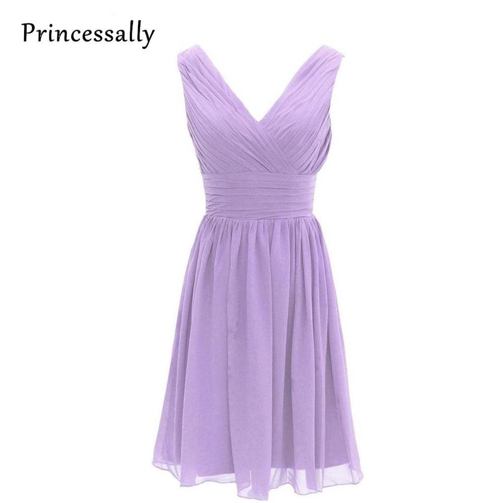 Compare prices on lavender bridesmaid dress online shoppingbuy purple lilac lavender bridesmaid dresses chiffon maid of honor sexy v neck knee length bridesmaids ombrellifo Gallery