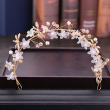 Crystal Flower Hair Band Headband Children's Performance Headdress Beautiful Flower Headband Wedding Accessories For Flower Girl flower overlay headband