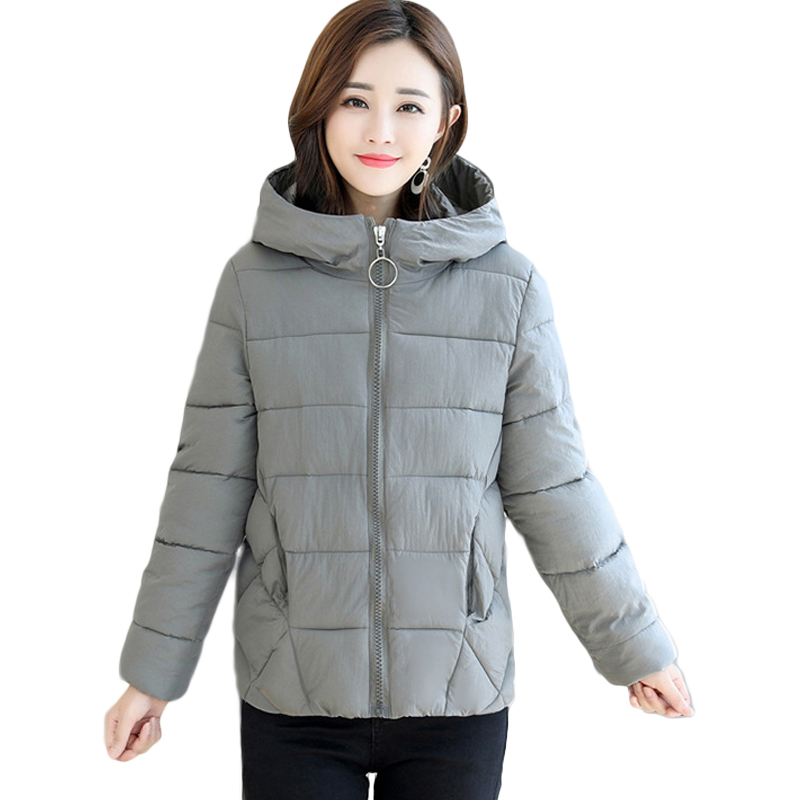 Large Size 6XL Winter Jacket Women 2018 New Fashion Small Cotton Warm Coat Short Slim   Parkas   Ladies Hooded Warm Outerwear CM740