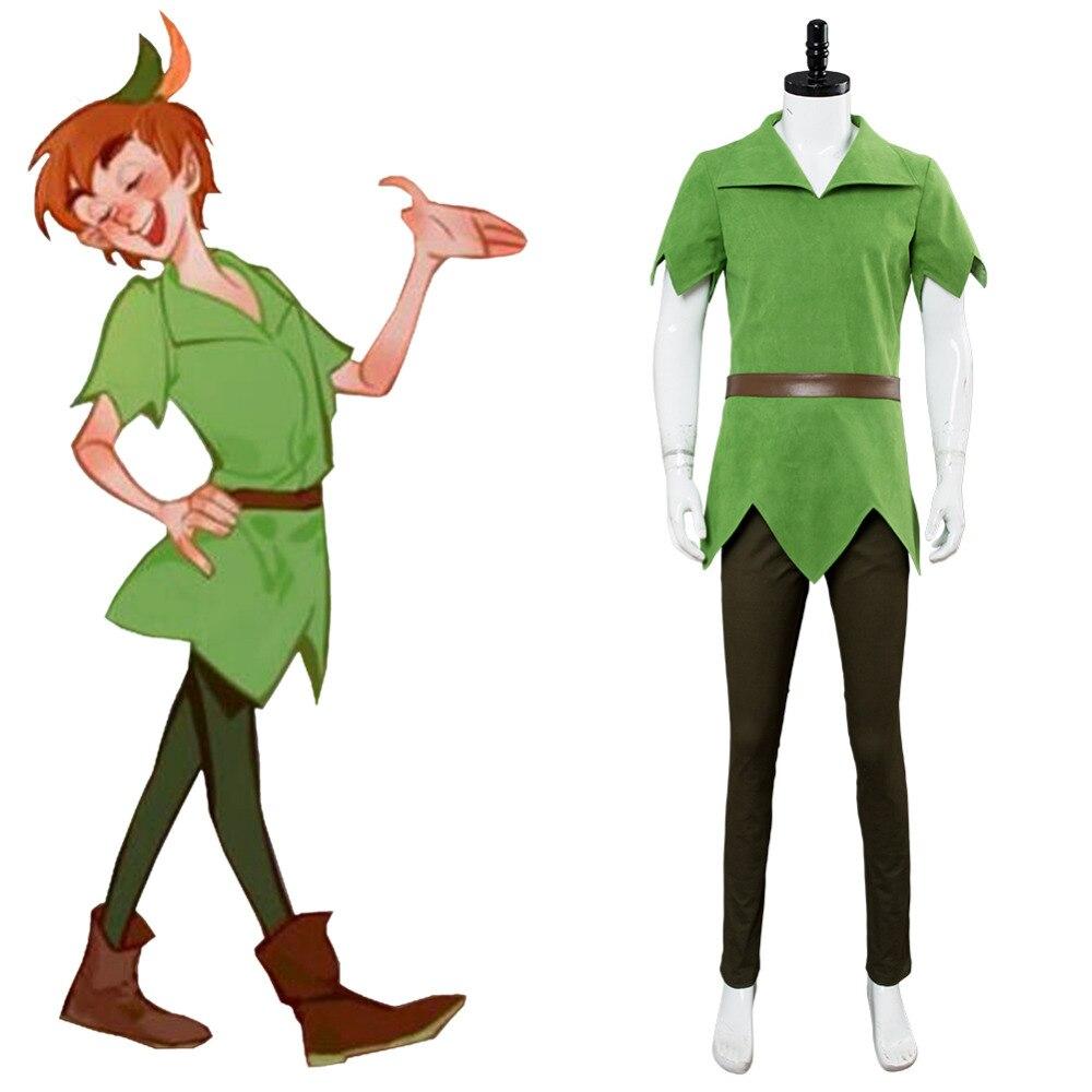 Film PeterPan Peter Pan Cosplay Costume couvercle vert pantalon chapeau ceinture Halloween carnaval Costumes sur mesure adulte