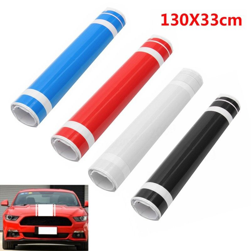 Car DIY Decoration 1pc Car Truck Hood Dual Racing Stripes 33 5x130cm Graphics Vinyl Sticker Decal Mayitr in Car Stickers from Automobiles Motorcycles