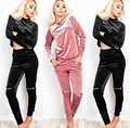 2017 Autumn Winter Fashion Velvet 2 Piece Set Tracksuit sexy zipper casual long-sleeved  suit plus Size Clothing pink Black