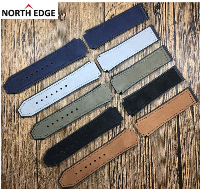 25*19mm Crazy horse leather Nature rubber silicone watchband watch band strap fo