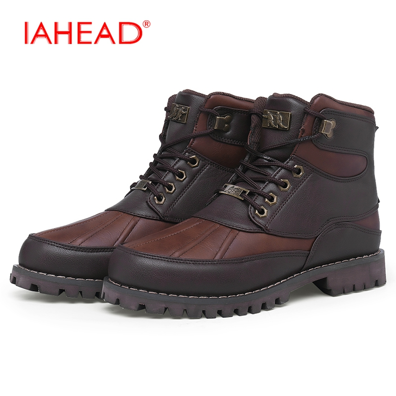 IAHEAD New Design Men Martin Boots Winter Warm Casual Shoes Tactical Boots Men Split Leather Snow Boots EU 39-45 MU513 martin winter boots for men and men s winter snow boots warm cashmere waist leather shoes in winter thickening