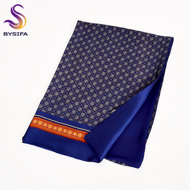 [BYSIFA] 2018 New Brand Men Scarves Autumn Winter Fashion Male Warm Navy Blue Long Silk Scarf Cravat High Quality Scarf 170*30cm 2