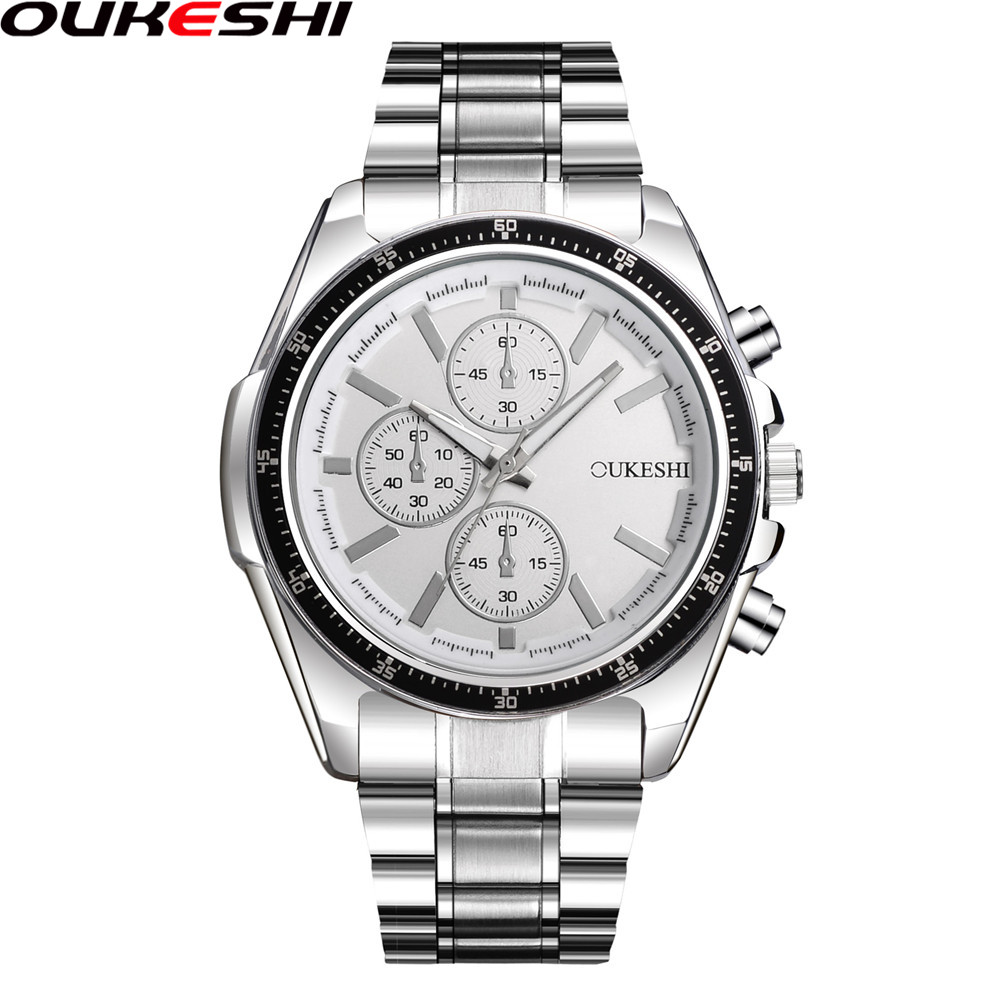 OUKESHI Fashion Watch Men Luxury Style Stainless Steel Band Business Casual Quartz Wristwatch Male Clock Relogio Masculino OKS38 new 2017 business about men wristwatch stainless steel band fashion machinery male relogio masculino sport quartz watch xl50