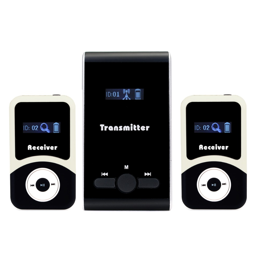 Wireless Tour Guide system 1 Transmitter 2 Receiver for Tour Guiding Simultaneous Interpretation System F4506 2 receivers 60 buzzers wireless restaurant buzzer caller table call calling button waiter pager system