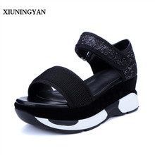 XIUNINGYAN Sandals Women 2018 Fashion Leisure Spell Color High-grade Mixed Materials Breathable Sequins Wedges Roman Sandals Hot