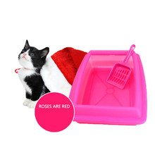 2017 Blue/Pink Litter Box Cat Bedpans Semi Closed Anti-splash Cat Toilet Pet Cat Litter Box Plastic 30%