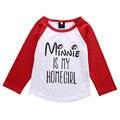 Lindo Niños Del Otoño Del Resorte Muchachas de Los Bebés Cartong Mouse Camiseta de Algodón Blusa Superior Arropa el Equipo