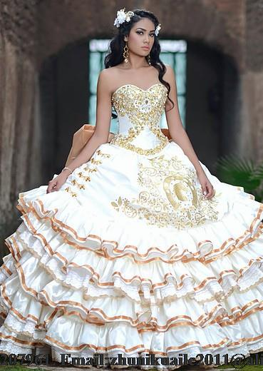 Popular Gold White Quinceanera Dresses-Buy Cheap Gold White ...