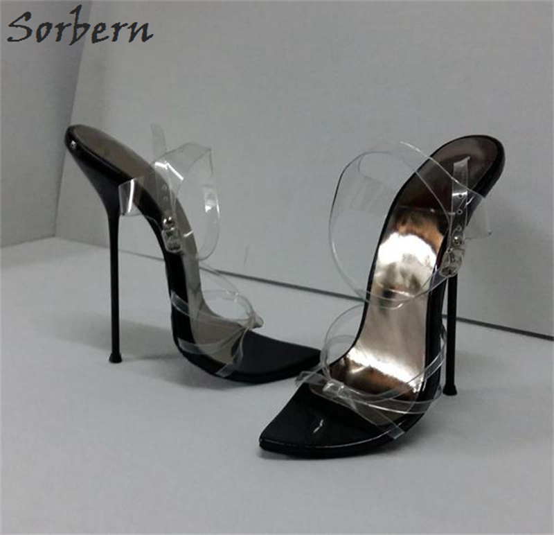 Sorbern Black Women Shoes Unisex Sandals High Heels 14Cm 16Cm Thin Straps Metal Stilettos 35-50 Sandals For Women Plus SizeSorbern Black Women Shoes Unisex Sandals High Heels 14Cm 16Cm Thin Straps Metal Stilettos 35-50 Sandals For Women Plus Size