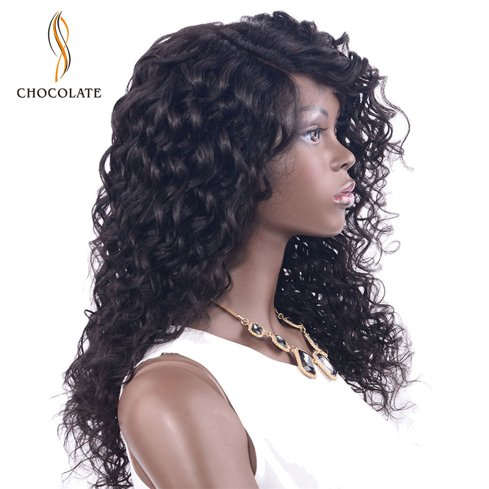 CHOCOLATE Wavy Remy Human Hair Lace Front And L Part Wig Bleached Knots 16 Inch Wigs For Black Women Free Shipping