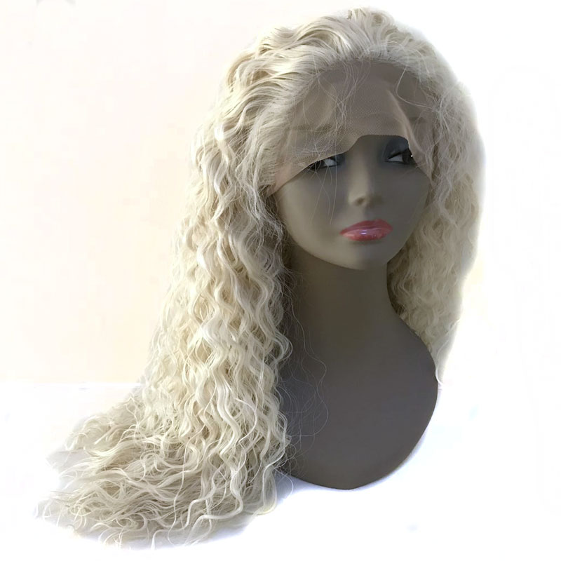 Bombshell White Platinum Blonde Loose Curly Synthetic Lace Front Wig Gluelesss Heat Resistant Fiber Natural Hairline