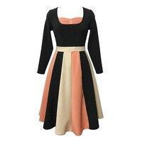 Sisjuly Vintage 1950s Dress Female Party Dresses Retro Patchwork Square Neck Summer Mid Calf Full Sleeve
