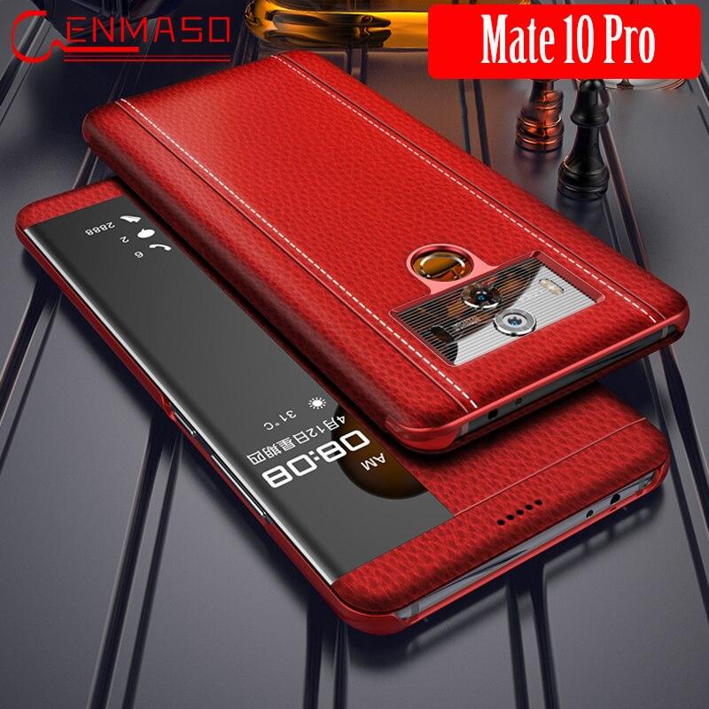 Huawei Compagnon 10 Pro Cas En Cuir De Luxe Véritable Mate10 Pro Flip Couverture HUAWEI Compagnon 10 Pro Smart Touch Clear View fenêtre Funda Capa