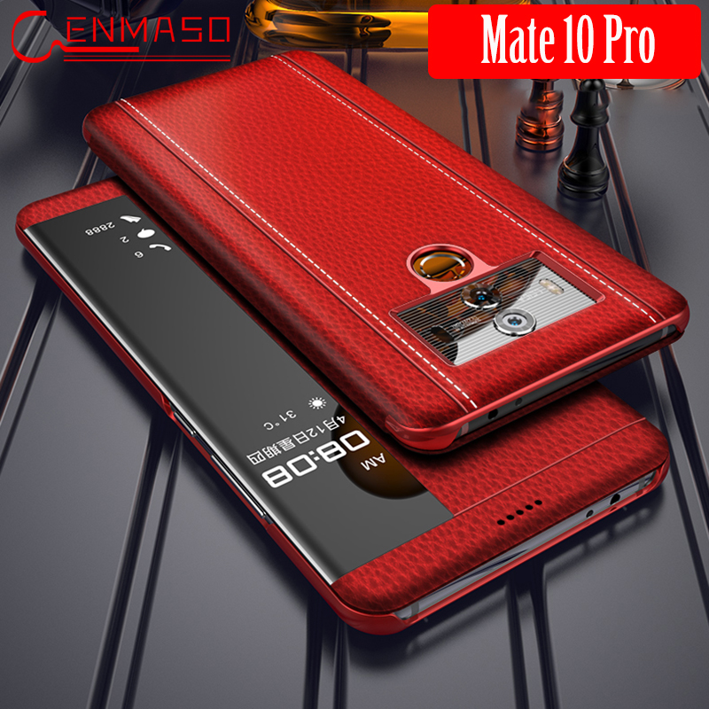 Huawei Mate 10 Pro Case Luxury Genuine Leather Mate10 Pro Flip Cover HUAWEI Mate 10 Pro Smart Touch Clear View Window Funda CapaHuawei Mate 10 Pro Case Luxury Genuine Leather Mate10 Pro Flip Cover HUAWEI Mate 10 Pro Smart Touch Clear View Window Funda Capa