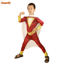 2019 Movie Shazam Costumes kids Halloween Costume Zentai Billy Batson Superhero Cosplay Costume Boys Bodysuit Zentai Fancy Dress
