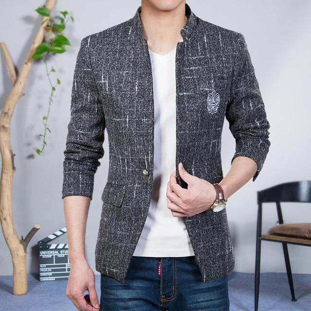 Mens adelgazan la chaqueta de terciopelo chaqueta masculina 2016 de primavera y otoño azul marino negro azul muesca solapa capa ocasional