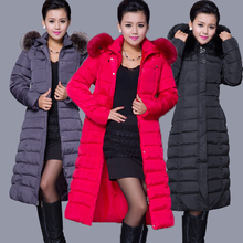 Winter Women Fashion Long Thick Warm Down Cotton Jacket Women Plus Size High Quality Fur Collar Slim Coat  Women Overcoat Parka