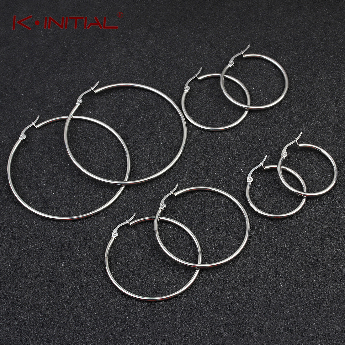 Kinitial New Smooth Circle Hoop Earrings For Women Stainless Steel Geometric Earrings 5 Style Round Earring Statement Jewelry