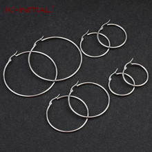 Kinitial New Smooth Circle Hoop Earrings For Women Stainless Steel Geometric 5 Style Round Earring Statement Jewelry