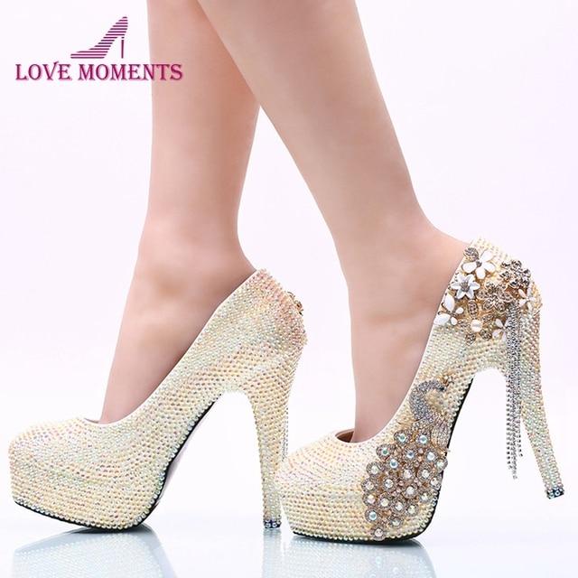 9827fb888 Lindo Branco AB Rhinestone Mulheres Partido Salto Alto Sapatos de Baile De  Cristal Phoenix Nupcial Sapatos