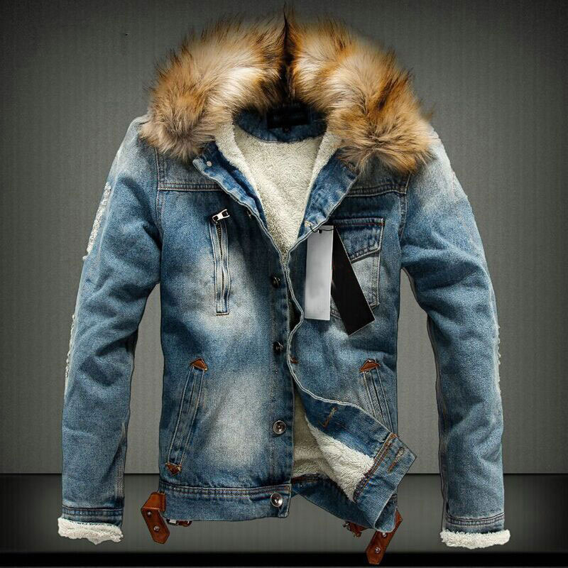 2019 Autumn and <font><b>Winter</b></font> tide <font><b>men's</b></font> thick Denim jacket Korean Casual <font><b>winter</b></font> <font><b>Fur</b></font> collar plus velvet Retro jacket <font><b>shirt</b></font> Size 3XL 4XL image