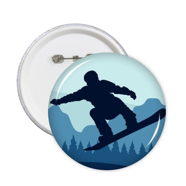 Skiing Skating Boots Pole Pine Tree Hockey Dancing Skateboard Round Pins Winter Sport Badge Button Clothing Decoration 5pcs