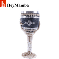 HeyMamba Stainless Steel Beer Steins Gothic Goblet Drinking Glass 3D Skull Skeleton Claw Punk Style Wine