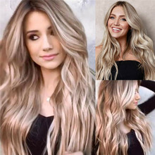 Women Synthetic Hair Lace Front Wig Body Wavy Full Brown Wigs Ombre Blonde Wigs цена