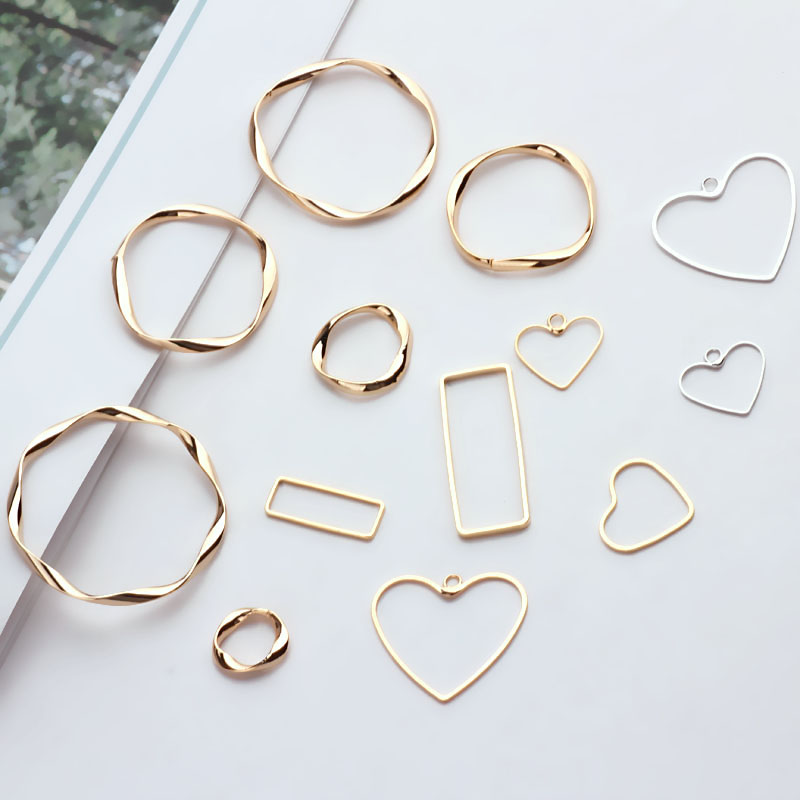 6PCS 24K Gold Color Plated Brass Irregular Round Shaped Closed Rings For Jewelry Earring Making Finding Accessories