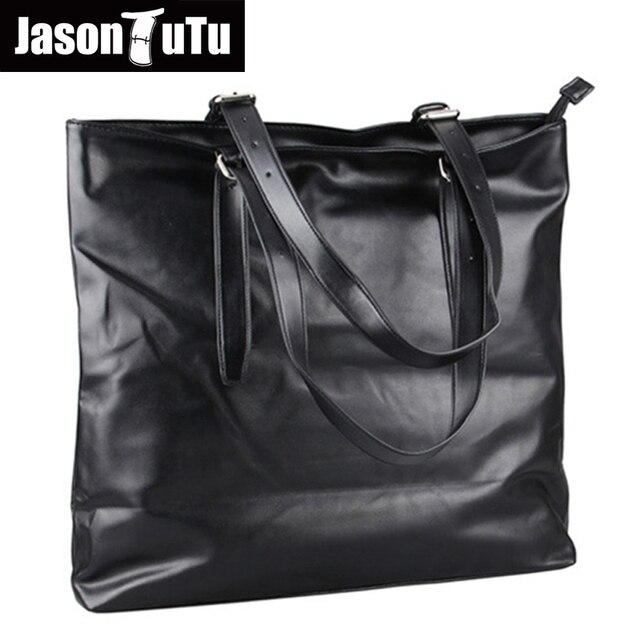 8af4ed2091b23 حقائب الكتف للرجال الرجال عالية الجودة بو الجلود كبير حقائب جلدية لينة أسود جلد  حقيبة رجل