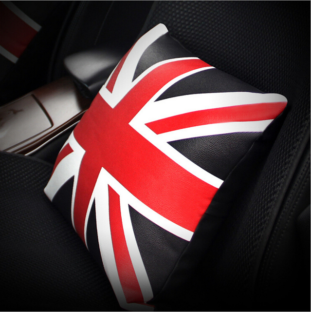 Fashion Style The Union Flag Leather Car Pillow Cushion Pad Car Interior Accessories 2016 High Quality Car Pillow Cushion 1pcs