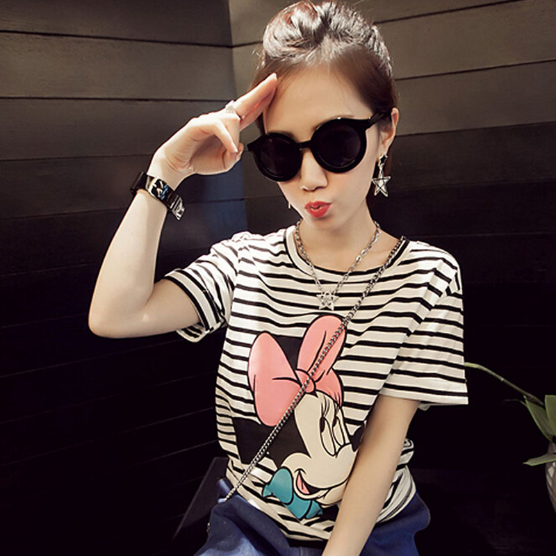 Short Sleeve Mickey Print   T     shirt   Women Summer Fashion Casual Style Tee   shirt   Femme Striped Color Camisetas Feminina