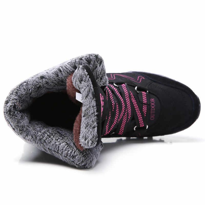 PINSEN marka moda 2020 kadın çizmeler süet deri su geçirmez kışlık botlar kadın sıcak tutmak dantel-up kar botları chaussures femme